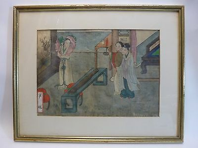 1899 Japanese Watercolor on Silk Painting  Signed by Artist
