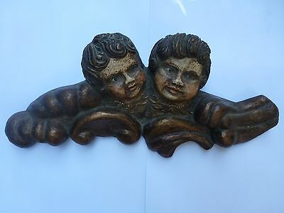 Antique Carved Double Head Angel Cherub Wood Carving