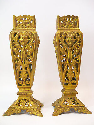 Antique 19th Century Reticulated Brass or Bronze Vases