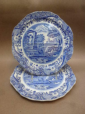 2 Copeland Spode's Italian Blue White quartered Sandwich or Cake plates  9 1/2 ""