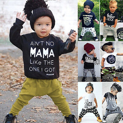 Toddler Boys Baby Short / Long Sleeve Tops + Pants 2PCS Kid Various Style Outfit