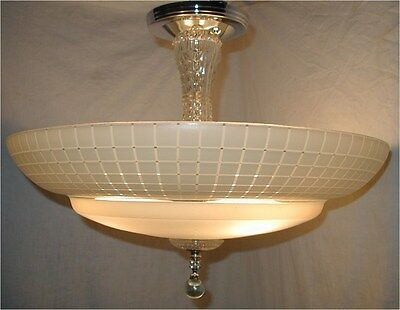 VTG 30S ART DECO to MID CENTURY MODERN GRID GLASS SHADE CHANDELIER LIGHT FIXTURE