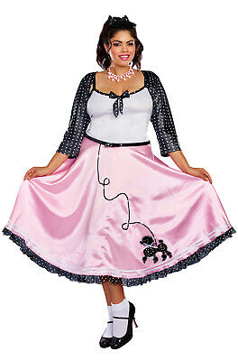Brand New 1950s Retro Poodle Skirt Rock Around The Clock Plus Size Costume
