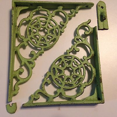 Vintage Cast Iron Shelf Brackets- Small breaks- Old Green Paint