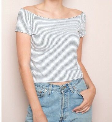 00e1e7381edb4f BRANDY MELVILLE STRIPED Cropped off shoulder cotton rin top NWT ...