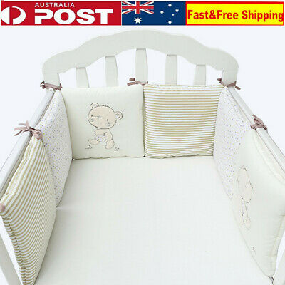 6X Beige Baby Bed Bumper in the Crib Cot Bumper Newborns Toddler Bed Bedding Set