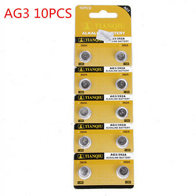 10PCS AG3 LR41 392 SR41 192 1.5V Alkaline Coin Button Cells Watch Battery New