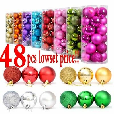48Pcs Glitter Christmas Balls Baubles Xmas Tree Hanging Ornament Christmas Decor