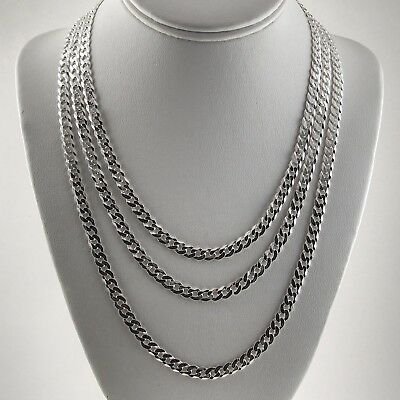 6.3mm Real Italian Solid 925 Sterling Silver Cuban Link Curb Chain Necklace
