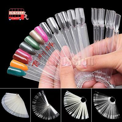 50/100 Polish Nail Art Tips Clear False Pop Colour Sticks Display Fan Practice