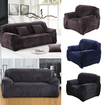 Sofa Protector VELVET Couch Slip Over Easy Fit Stretch Sofa Cover Elastic Fabric