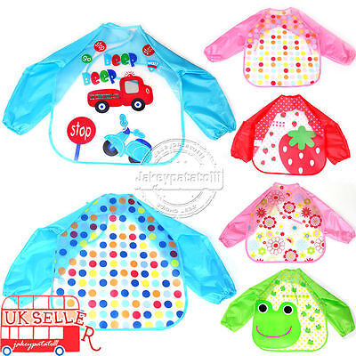 AU Seller Baby Toddler Kids Long Sleeve Waterproof Feeding Art Apron Bib Smock