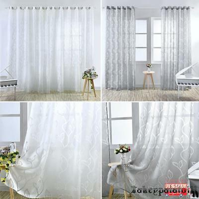 1pc Voile Panel Net Curtain Slot Top Leaves Pattern Window Curtains Decoration
