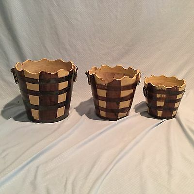 Antique Dutch Style Ceramic Bucket Planter / Jardiniere Pots from John Rosselli