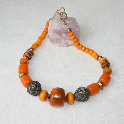 Kette false faux Amber Tuareg Messing Horn Necklace African Tradebeads 53 cm