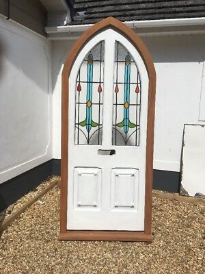 Stained Glass Front Door Antique Period Reclaimed Old Tudor Arched Frame Rare