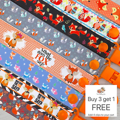 Dummy clip pacifier chain dummie binky baby shower gift soother teether fox