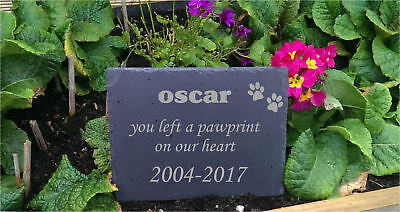 Personalised Engraved Slate Stone Heart Pet Memorial Grave Marker Plaque Dog h