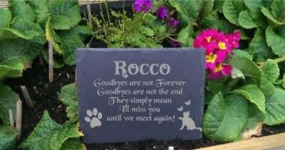 Personalised Engraved Slate Stone Heart Pet Memorial Grave Marker Plaque Dog g