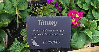 Personalised Engraved Slate Stone Heart Pet Memorial Grave Marker Plaque Dog f