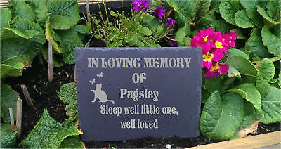 Personalised  Slate Stone Heart Pet Memorial Grave Marker Plaque Dog b