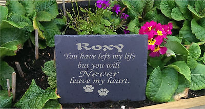 Personalised Engraved Slate Stone Heart Pet Memorial Grave Marker Plaque Dog a