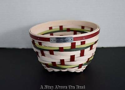 Longaberger 2017 Christmas Snow Swirl Basket in White Washed & Bold Red New