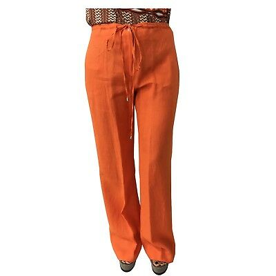 CALALUNA women's trousers orange 100% linen MADE IN ITALY cm base. 29
