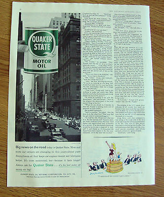 1958 Quaker State Oil Ad  Big News on the Road    Chicago Illinois