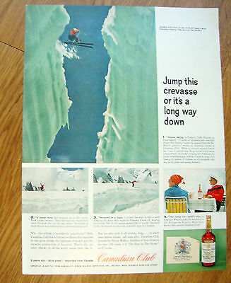 1959 Canadian Club Whiskey Ad Skiing France's Valle Blanche