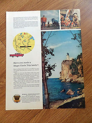 1960 Ethyl Gasoline Ad Minnesota Split Rock Lighhouse Paul Bunyan Lake Bemidji