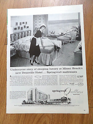1958 Springwall Quiltress Mattress Ad Deauville Hotel Miami Beach Florida Newest