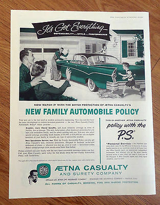 1956 Aetna Casualty Insurance Ad  Buick Olds Chevy?