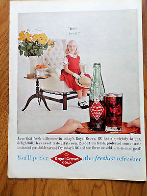 1959 RC Royal Crown Cola Ad Little Girl Dressed up