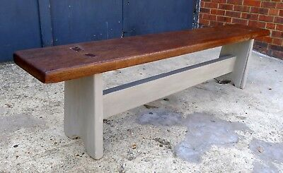 Antique Oak Bench Painted with Annie Sloane Paint & Waxed