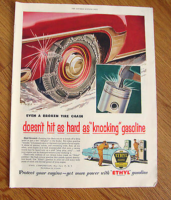 1954 Ethyl Gasoline Ad 1952 Chevrolet 1953 Lincoln