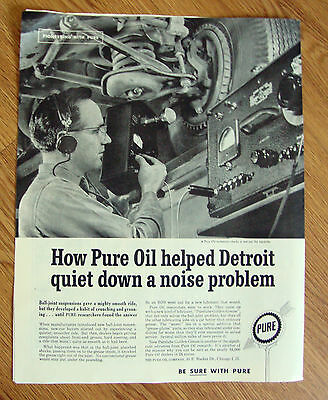 1960 Pure Oil Ad  A Technician Checks a Test Car for Squeaks