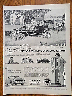 1952 Ethyl Gasoline Ad 1908 1952 Ford 1939 Mercury