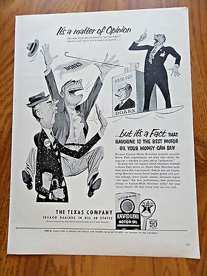 1952 Texaco Havoline Ad Its a matter of Opinion