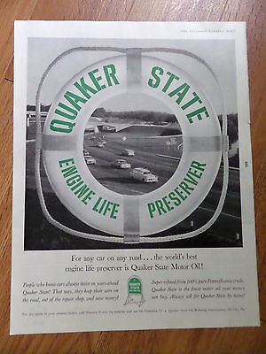 1961 Quaker State Motor Oil Ad Automobiles on the Highway