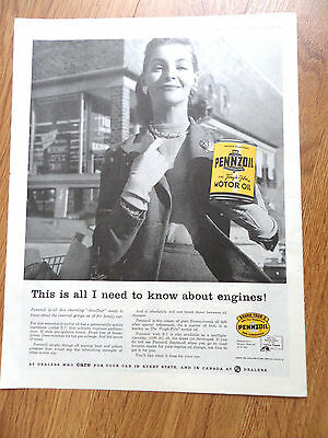 1958 Pennzoil Oil Ad  This is All I Need to Know about Engines  Lady
