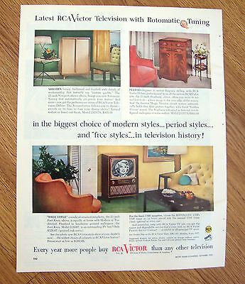 1953 RCA Victor TV Television Ad Rotomatic Tuning Modern Styles
