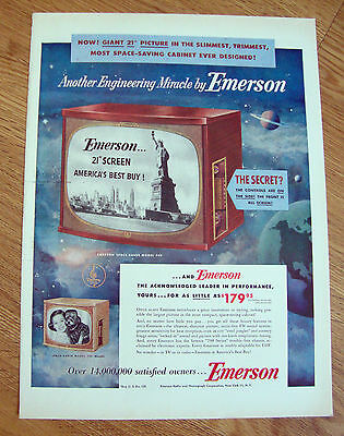 1953 Emerson TV Television Ad  Controls on the Side Statue of Liberty on Screen