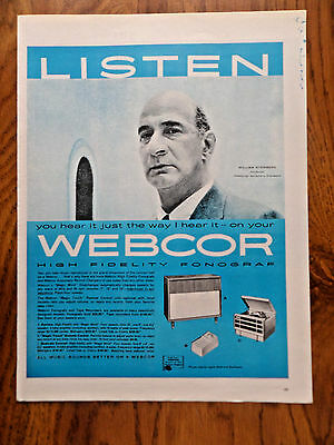 1957 Webcor Phonograph Ad  William Steinberg Conductor