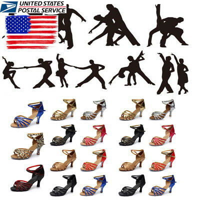 US STOCK! Womens Latin Salsa Tango Jazz Dance Ballroom Sandals Heeled Shoes Size