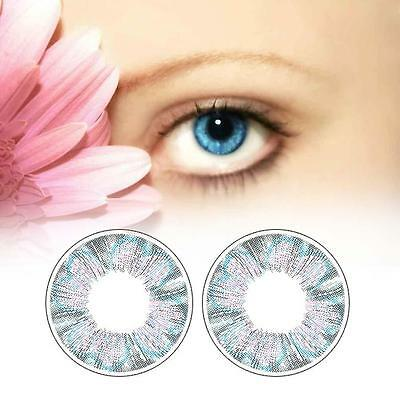 1 Pair Contact Lenses Color Soft Big Eye UV Protection Cosmetic Blue Clover BKXD