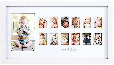 Pearhead 'My First Year' Photo Moments Baby Keepsake Frame, White