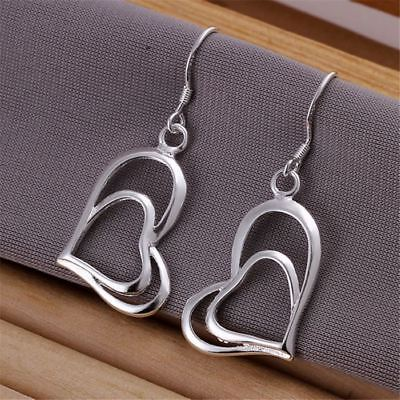 -UK- Silver Plated Double Heart Drop Earrings Love. Gift Bag