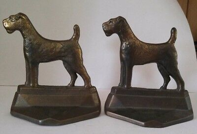 Vintage Connecticut Foundry Pal Airedale Terrier Bookends 1929
