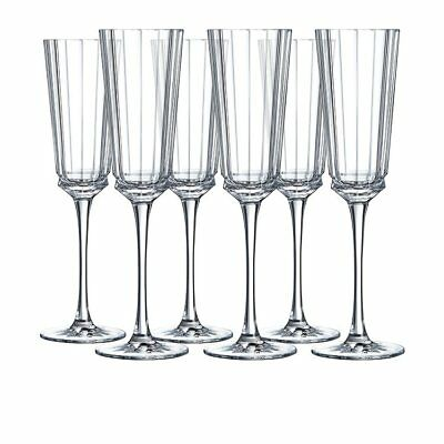 NEW Cristal D'Arques Macassar Champagne Flute 170ml Set of 6 (RRP $80)